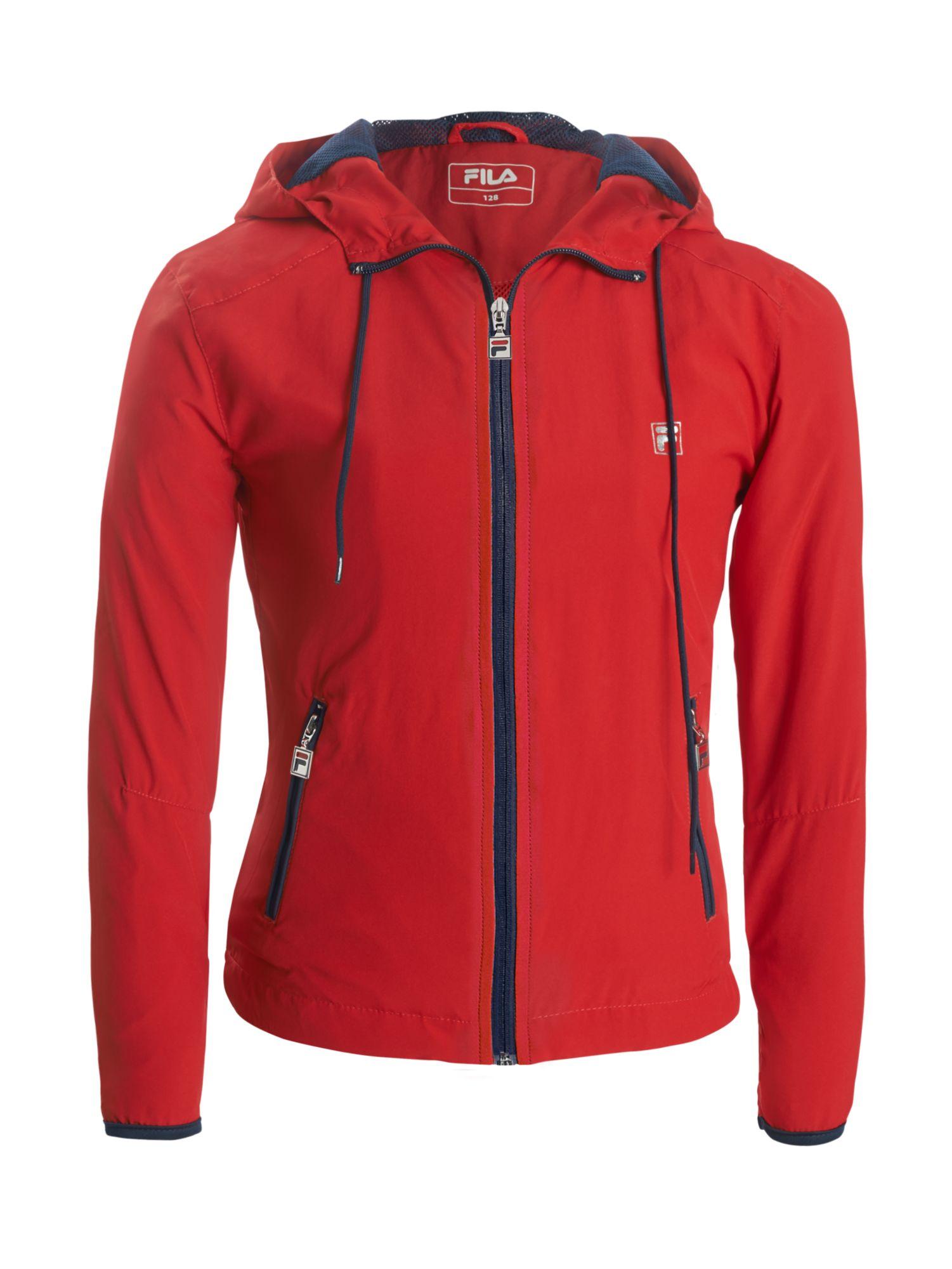 Artikel klicken und genauer betrachten! - Mädchen Trainingsjacke mit Kapuze und Kordelzug Mädchen rot durchgängiger Zip Kapuze mit Kordelzug 100% Polyester | im Online Shop kaufen
